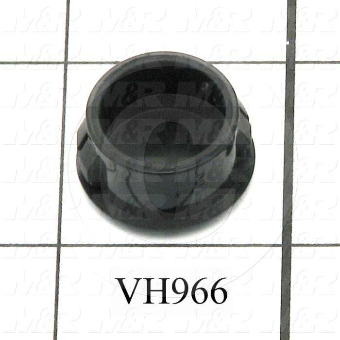 "Grommets, Plugs, Bushings, Plug, 0.687"" Groove Diameter, 0.125"" Panel Thickness, 0.406"" Overall Length, 0.781"" Head Size/Diameter, Black, Nylon 6/6"
