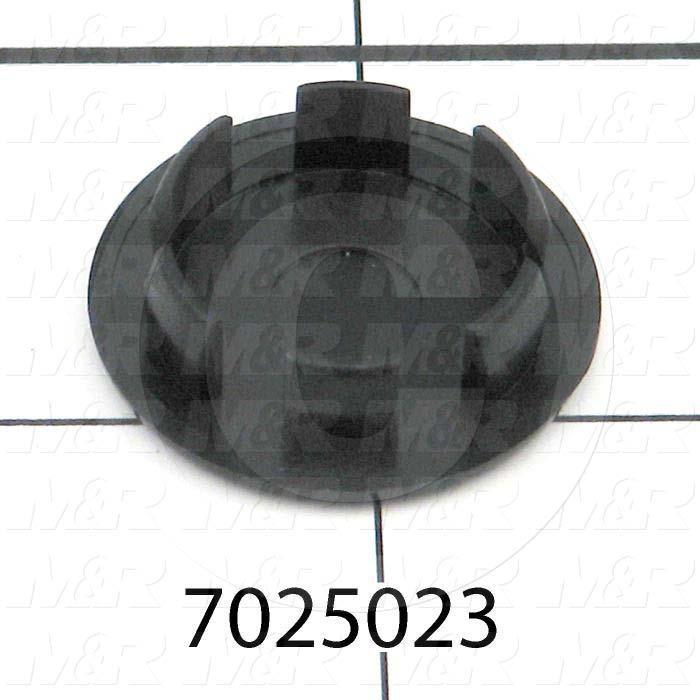 "Grommets, Plugs, Bushings, Plug, 13/16"" Groove Diameter, .031"" - .109"" Panel Thickness, 1 1/32"" Head Size/Diameter, Black, Nylon, Snap In Type"