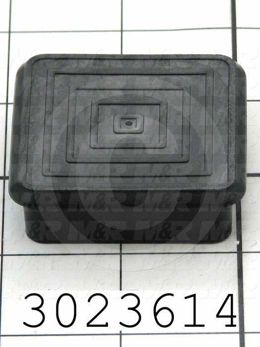 "Grommets, Plugs, Bushings, Plug, Black, Polyethylene, Square 2.00"" Outside, 1.87"" Inside, 0.50"" Height"