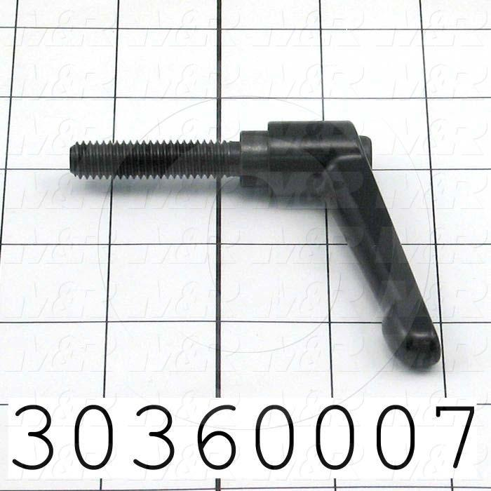 "Handles, Adjustable Handle Type, Threaded Stud Mounting, Die Cast Material, 3/8-16 Thread Size, 1.570"" Thread Length"