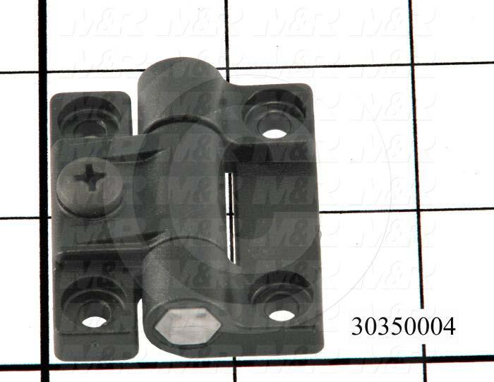 "Hinge, Adjustable Hinge, Surface Mounting Style, 1.69"" Width, 1.44"" Overall Length, 0.500"" Thickness, Black Acetal"