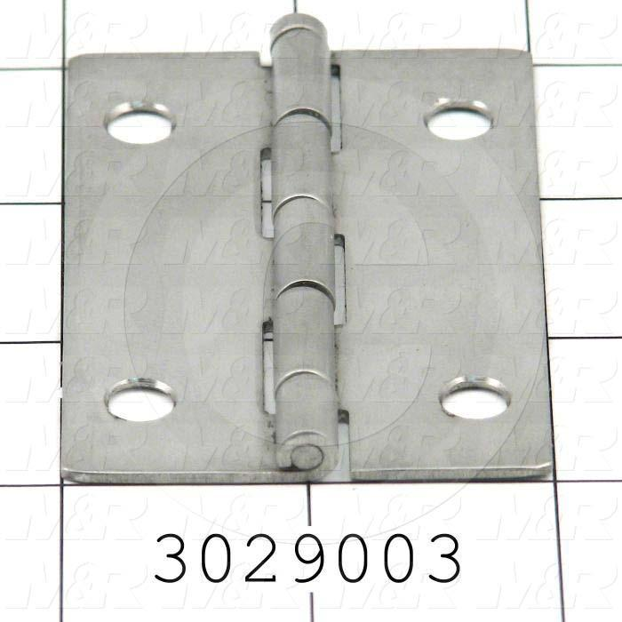 "Hinge, Door/Butt, Mortise Mounting Style, 2.00 in. Width, 3.00 in. Overall Length, 0.063"" Thickness, Steel, Zinc-Plated"