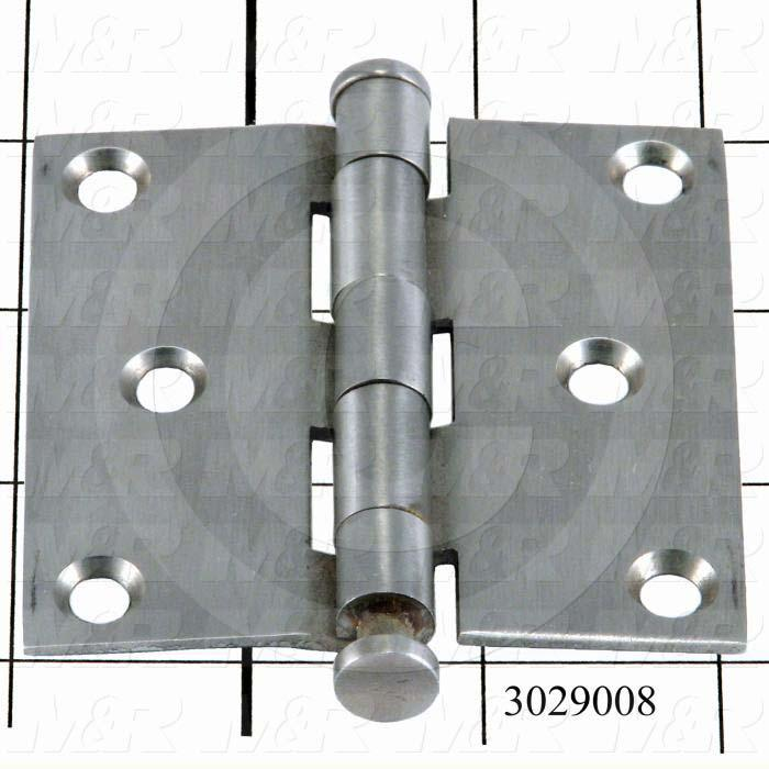 "Hinge, Door/Butt, Mortise Mounting Style, 3"" Width, 3.00 in. Overall Length, 0.097"" Thickness, Stainless Steel, Six  Mounting Holes for # 9 Screw, 7/16 "" Knuckle Diameter,15/16"" Pin Diameter"