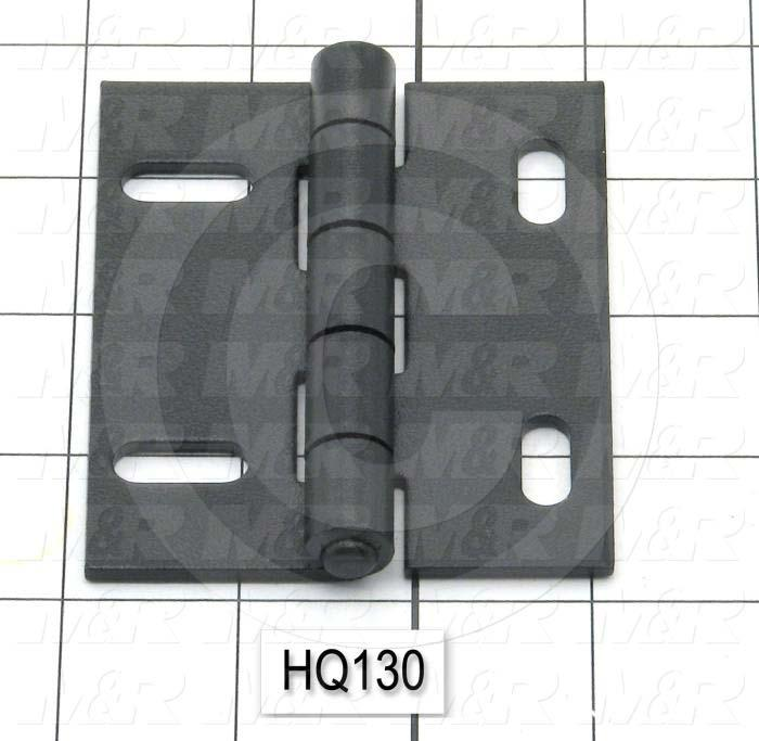 "Hinge, Door/Butt, Surface Mounting Style, 3.50 in. Width, 3.00 in. Overall Length, 0.125"" Thickness, Steel, Four Mounting Slots For # 1/4 Screw, Black Hard Coat"