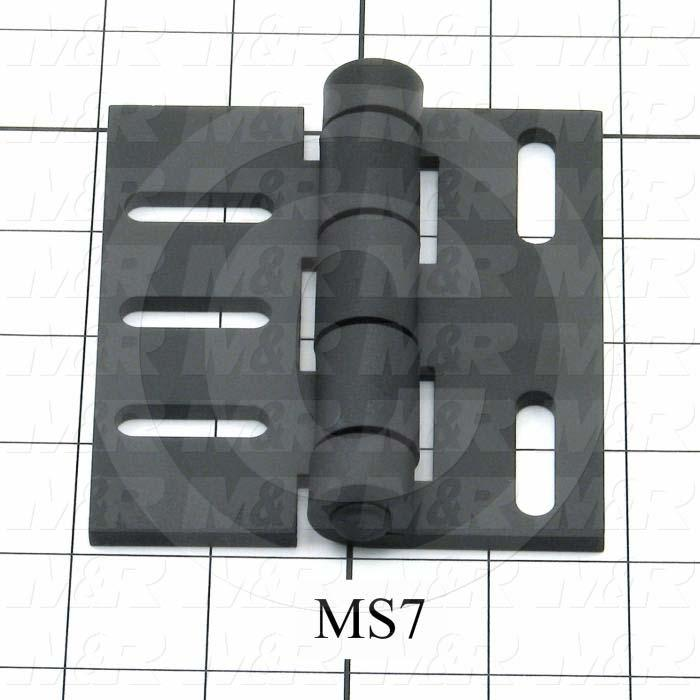 "Hinge, Door/Butt, Surface Mounting Style, 4.00"" Width, 3.75"" Overall Length, 0.18"" Thickness, Steel, Black Hard Coat"