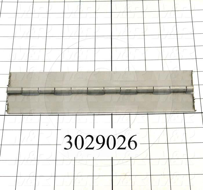 "Hinge, Piano Hinge General Purpose, Surface Mounting Style, 2.00 in. Width, 84.00"" Overall Length, 0.06 in. Thickness, Stainless Steel, Plain"