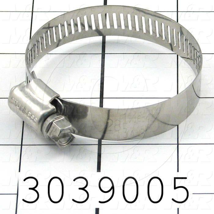 "Hose and Tube Clamps, Worm Drive Clamp Type, Stainless Steel Material, 1.31"" To 2.25"" Clamp ID Range, 0.50"" Band  Width, SAE No. 28"