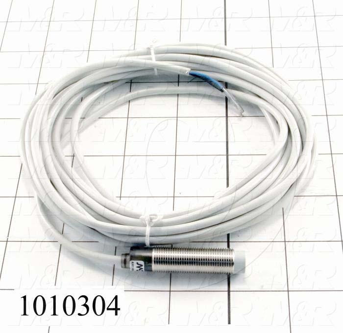 Inductive Proximity Switch, Round,12mm Diameter, Sensing Range 8mm, 3 Wire NPN, Normally Open, 5m Cable