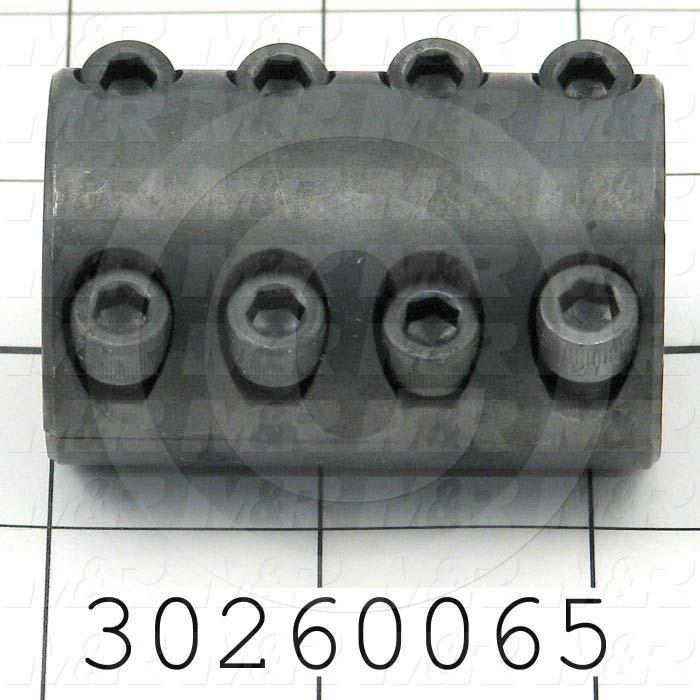 "Jaw Type Coupling, Hub # 1 Bore 1/2"", Hub # 1 Outer Diameter 1.50"", Hub # 2 Bore 3/4"", Hub # 2  Outer Diameter 1.50"", Overall Length 2.25"", Steel Hub Material, Clamping Style Clamp"