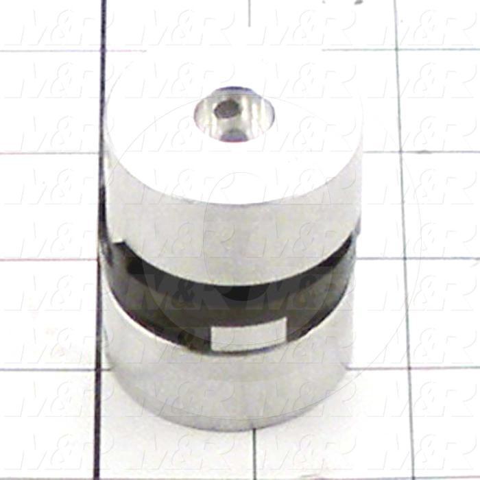 """Jaw Type Coupling, Hub # 1 Bore 1/2"""", Hub # 1 Outer Diameter 1.62"""", Hub # 2 Bore 1/2"""", Hub # 2  Outer Diameter 1.62"""", Overall Length 2.00 in., Aluminum Hub Material"""