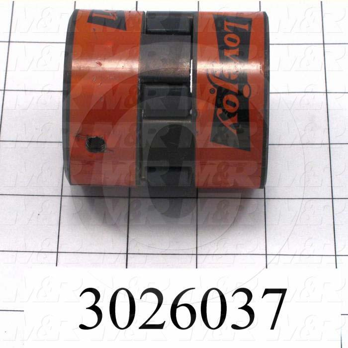 "Jaw Type Coupling, Hub # 1 Bore 1-3/16"", Hub # 1 Outer Diameter 2.54"", Hub # 2 Bore 1-3/16"", Hub # 2  Outer Diameter 2.54"", Overall Length 2.84"", Steel Hub Material"