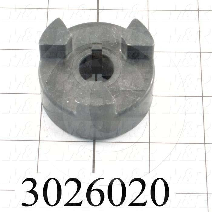 "Jaw Type Coupling, Hub # 1 Bore 5/8"", Hub # 1 Outer Diameter 2.11"", Overall Length 1.06 in., Steel Hub Material, Clamping Style Set Screw, Hub Only"
