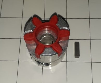 Jaw Type Coupling, Hub-Spider-Key, Hub # 1 Bore 14 MM, Aluminum Hub Material, Polyurethane Spider Material, Clamping Style Keyway / Clamp