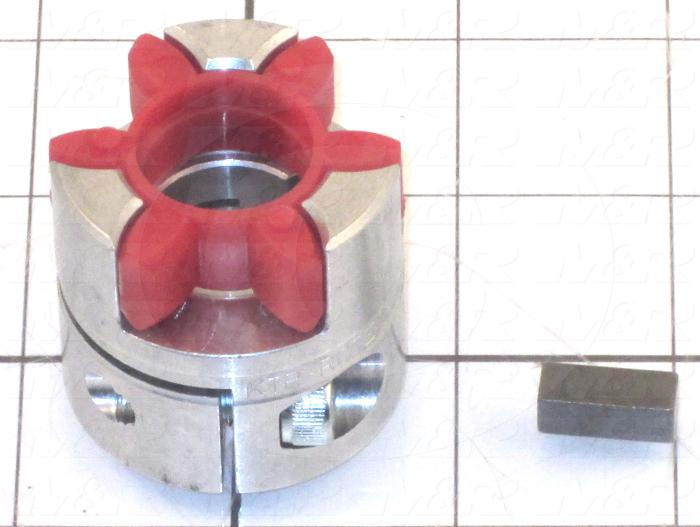 Jaw Type Coupling, Hub-Spider-Key, Hub # 1 Bore 19 mm, Aluminum Hub Material, Polyurethane Spider Material, Clamping Style Keyway / Clamp