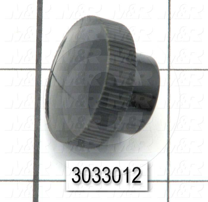 "Knobs, Knurled, Threaded Hole, 10-32 Thread Size, 0.66"" Knob Length, 1 in. Outside Diameter, Plastic Material"