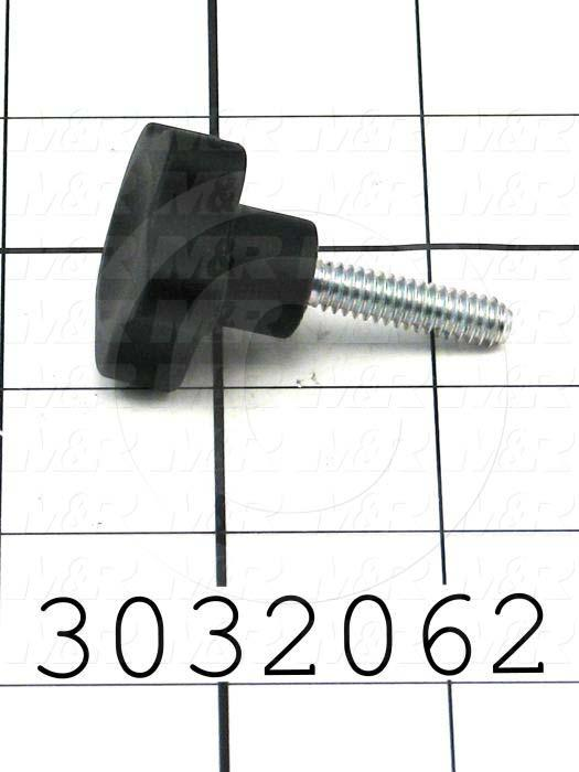 Knobs, Multi Lobe, Threaded Stud, 1/4-20 Thread Size, 1.00 Thread Length, Plastic Material