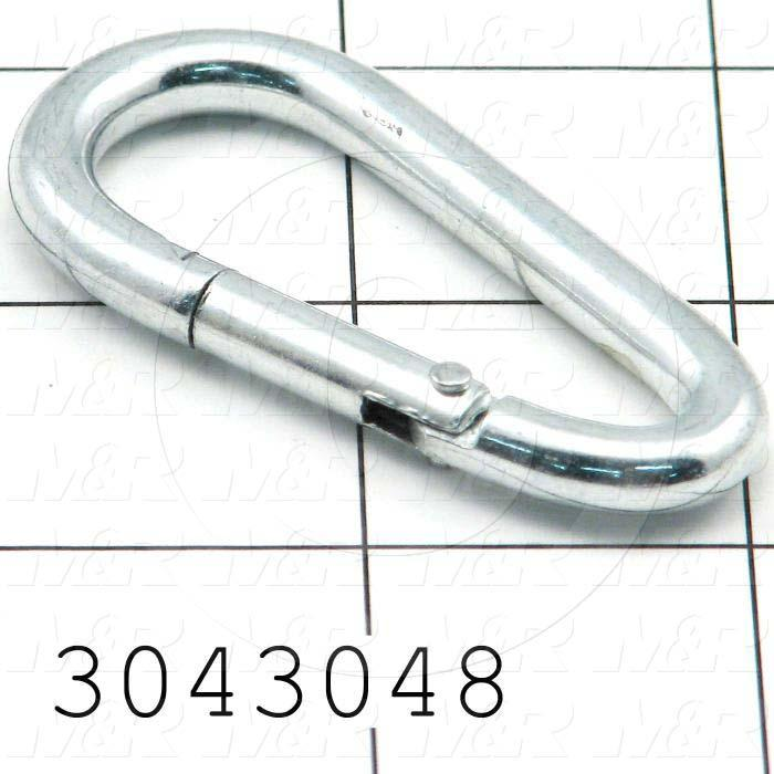 "Latches, Carabiner-Style Connector, Steel, Zinc Plated Finish, 0.38"" Snap Opening, 0.31"" Eye Diameter, 1.88"" Length"