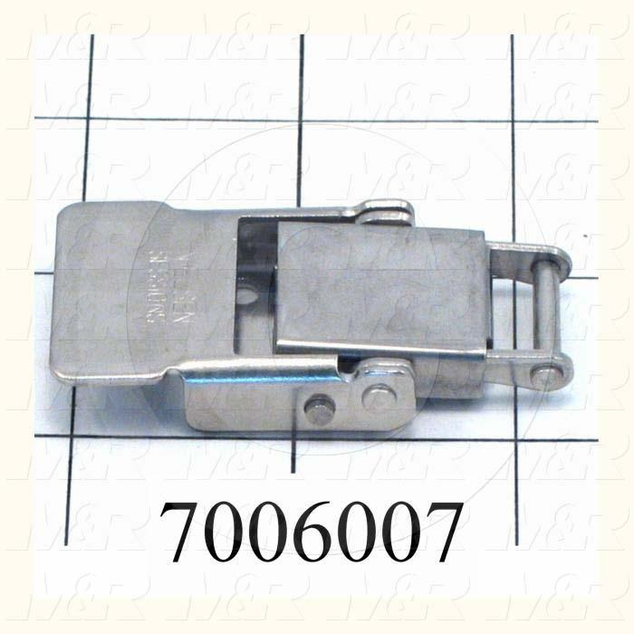 "Latches, Compression  Spring Draw Latch, 1.41"" Latching Distance, 2.88"" Overall Length, 1.14"" Width, 0.406"" Thickness, Stainless Steel, 400 lbf Work Load Limit"