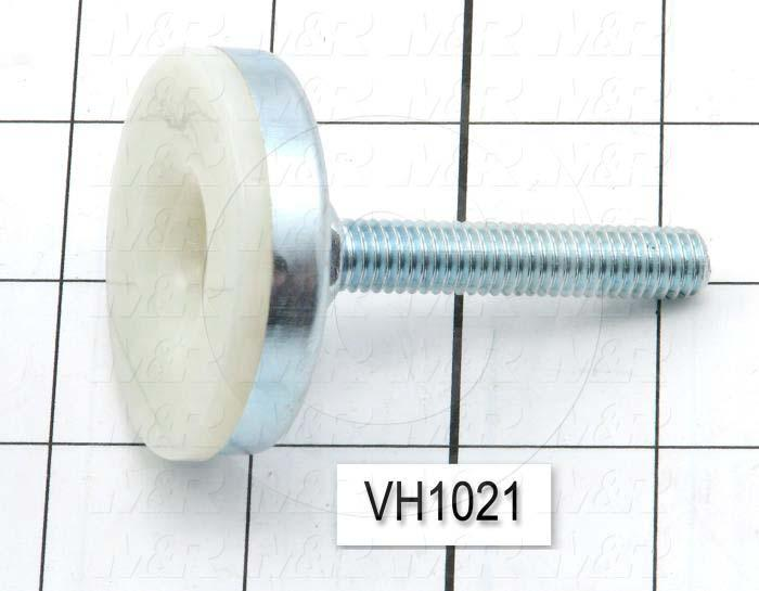 "Leveling Devices, Threaded Fixed Stud Type, 3/8-16 Thread Size, Nylon Pad Material, 2 in. Pad Diameter, 2.70"" Height, 2.00 in. Thread Length"