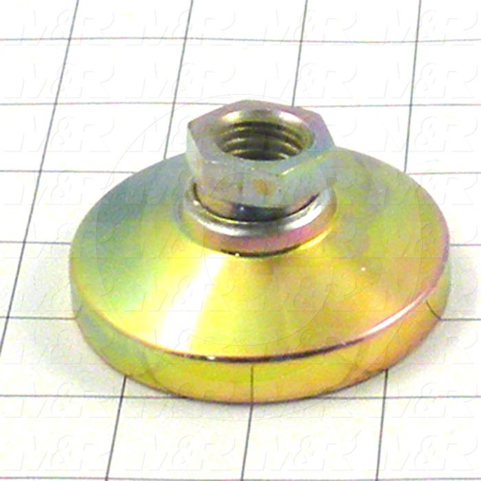 "Leveling Devices, Threaded Swivel Socket Type, 3/4-10 Thread Size, Steel Pad Material, 3.000"" Pad Diameter, 1.50"" Height"