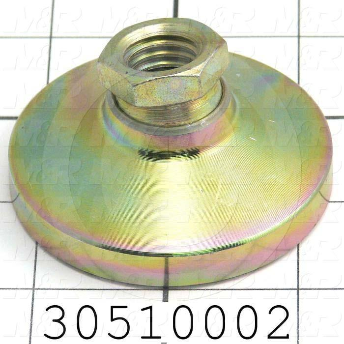 "Leveling Devices, Threaded Swivel Socket Type, 3/4-10 Thread Size, Steel Pad Material, 3.000"" Pad Diameter, 1.50"" Height, Partial Thread Length"