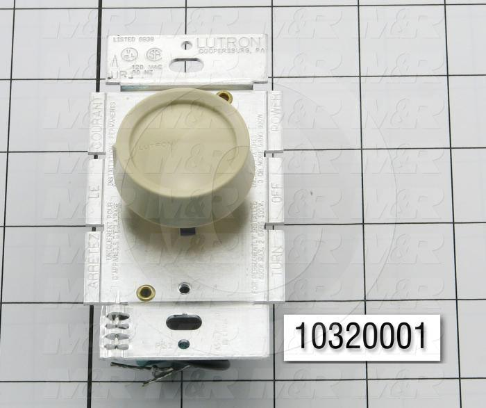 Lighting Dimmer, Dimmer Control, Rotary, 1 pole, 120V, 60Hz