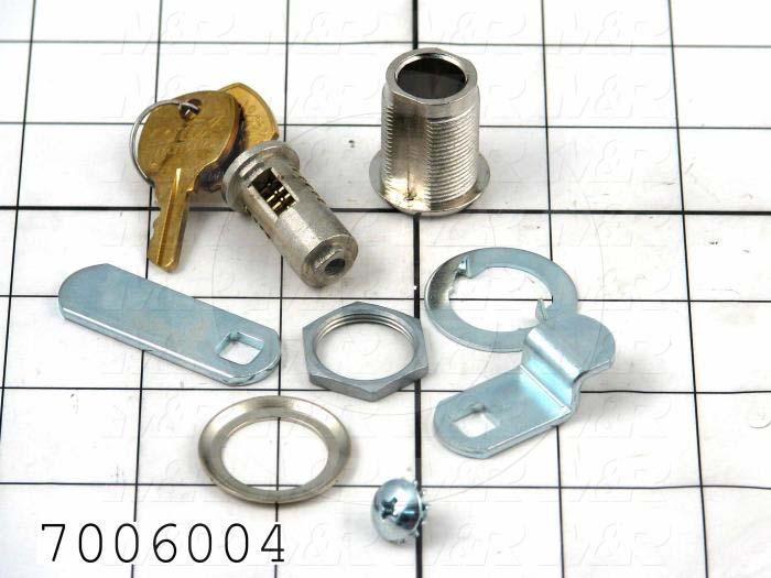 "Lock, Cam Lock, 0.75"" Mounting Hole Diameter, 0.63 in. Panel Thickness, 1.25"" Latching Distance, Die Cast Zinc, Nickel Finish"