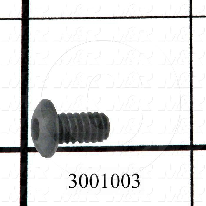 "Machine Screws, Button Head, Steel, Thread Size 10-24, Screw Length 3/8"", Full Thread Length, Right Hand, Black Electro Polyseal"