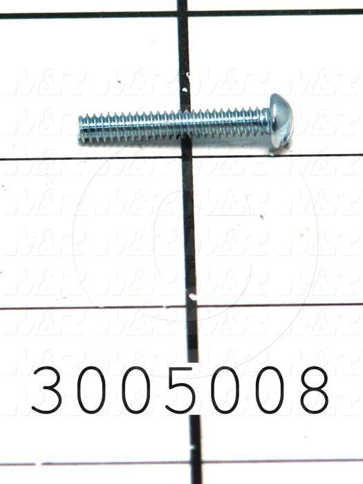 Machine Screws, Round Head, Steel, Thread Size 6-32, Screw Length 7/8 in., Right Hand, Zinc
