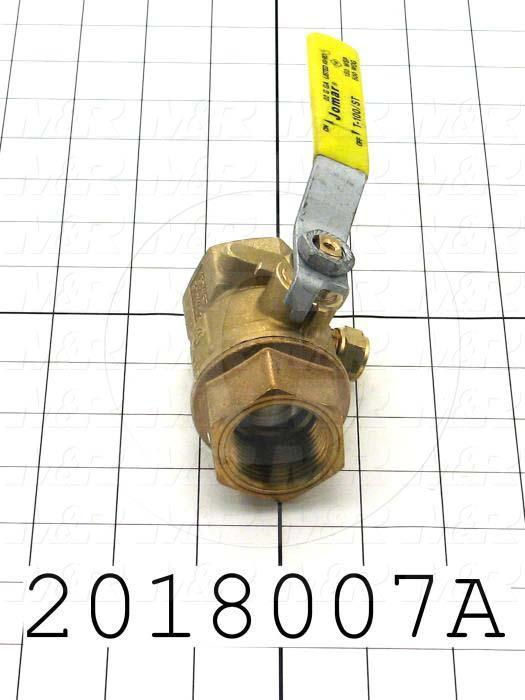 "Manual Gas Valve, Thread Size 1"" NPT, Max. Pressure 125 Psi, Material Brass"