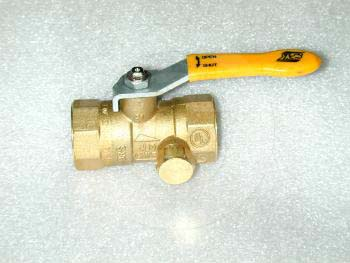 "Manual Gas Valve, Thread Size 3/4"" NPT, Max. Pressure 150 Psi, Material Brass"