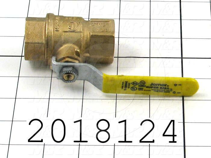 "Manual Gas Valve, Thread Size 3/4"" NPT, Max. Pressure 150 Psi, Material Brass"