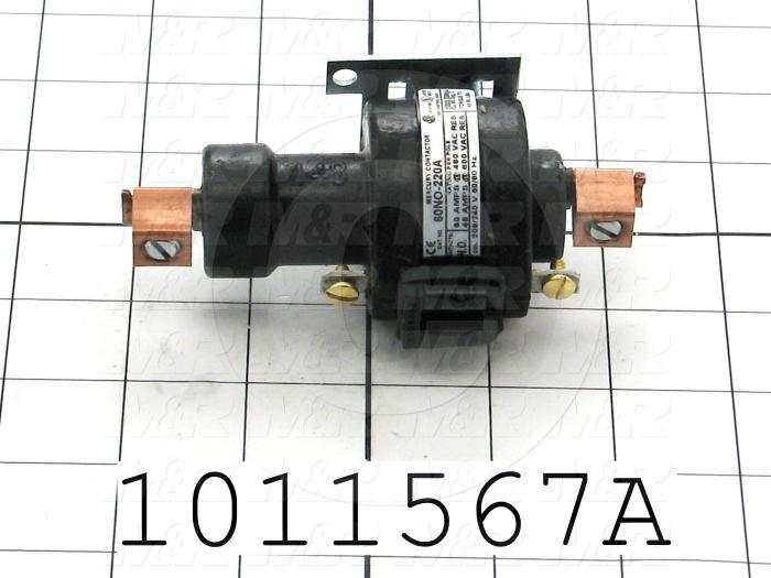 Mercury Relay, 1 Pole, Coil Voltage 230VAC, SPDT, 60A, 600V