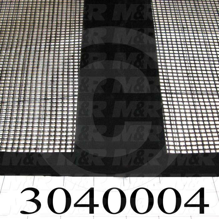 "Mesh Conveyor Belt, Fiberglass, Black, With Flap, 24"" Width, 170"" Length"