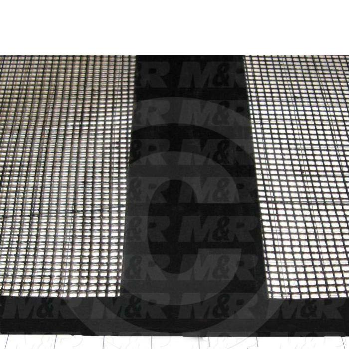 "Mesh Conveyor Belt, Fiberglass, Black, With Flap, 24"" Width, 190 in. Length"