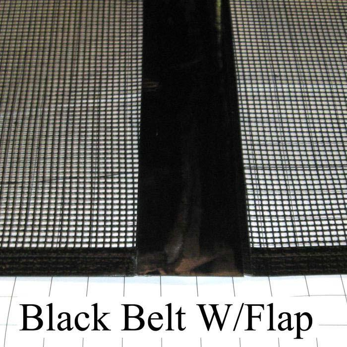 "Mesh Conveyor Belt, Fiberglass, Black, With Flap, 24"" Width, 214"" Length"