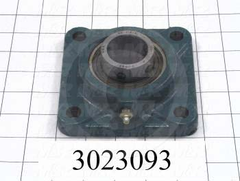 "Mounted Bearing Units, Ball, Four-Bolt Square Flange Housing Type, 1.375"" Inside Diameter, 7/16"" Mounting Holes, 4.63"" Overall Length, 1.63"" Height, 4.63"" Width"