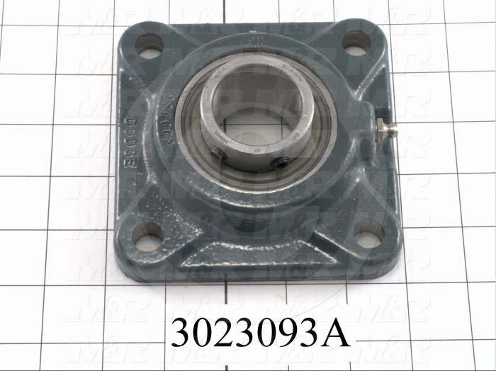 "Mounted Bearing Units, Ball, Four-Bolt Square Flange Housing Type, 1.438"" Inside Diameter, 1/2"" Bolt Mounting Holes, 3.63 in. Overall Length, 1.63 in. Height, 3.63"" Width, High Temperature"