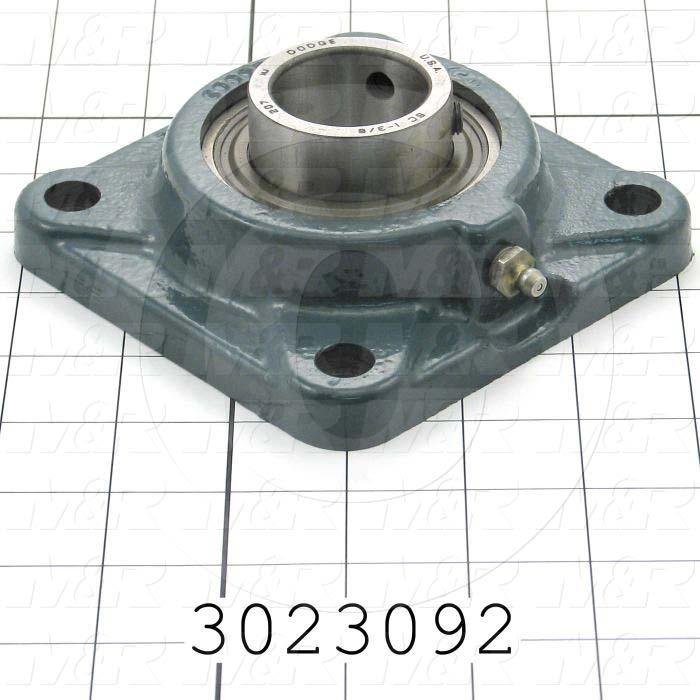 "Mounted Bearing Units, Ball, Four-Bolt Square Flange Housing Type, 1.75 in. Inside Diameter, 9/16"" Mounting Holes, 5.38"" Overall Length, 1.78"" Height, 5.38"" Width"