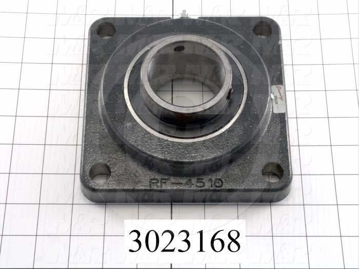 "Mounted Bearing Units, Ball, Four-Bolt Square Flange Housing Type, 2.19"" Inside Diameter, 5/8"" Bolt Mounting Holes, 6.38"" Overall Length, 2.31"" Height, 6.38"" Width"