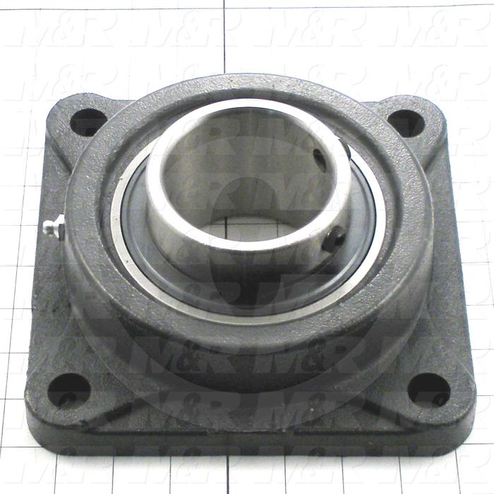 "Mounted Bearing Units, Ball, Four-Bolt Square Flange Housing Type, 2.94"" Inside Diameter, Sealed Seal Type, 3/4"" Bolt Mounting Holes, 2.406"" Height, 7.75"" Width"