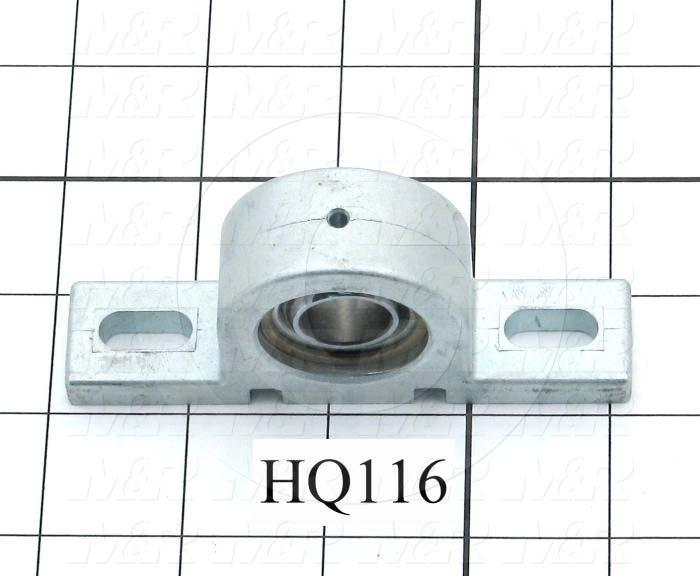 "Mounted Bearing Units, Ball, Pillow Block Housing Type, 0.625 in. Inside Diameter, Slot  0.30"" X 0.65"" Mounting Holes, 4.00 in. Overall Length, 1.78"" Height, 0.89"" Width"