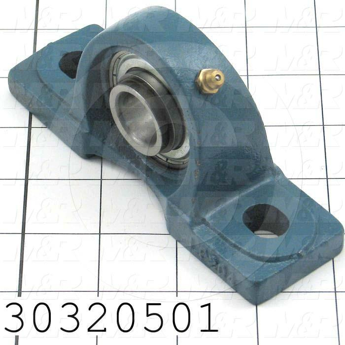 "Mounted Bearing Units, Ball, Pillow Block Housing Type, 0.75 in. Inside Diameter, Sealed Seal Type, 3/8"" Bolt Mounting Holes, 4.90"" Overall Length, 2.56"" Height, 1.63""  Base Width"