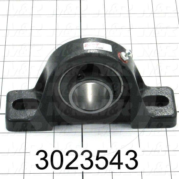 "Mounted Bearing Units, Ball, Pillow Block Housing Type, 1.25 in. Inside Diameter, Slot 9/16""X 15/16"" Mounting Holes, 6.19"" Overall Length, 3.16"" Height, 1.75"" Base Width"