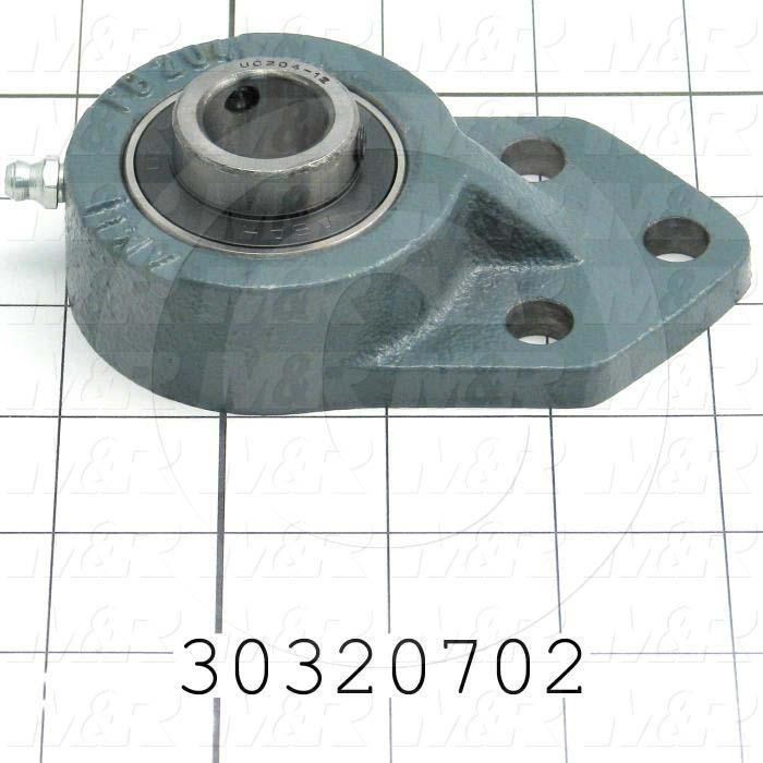 "Mounted Bearing Units, Ball, Three-Bolt Flange Housing Type, 0.75 in. Inside Diameter, Double Sealed Seal Type, 5/16"" Bolt Mounting Holes, 4.25 in. Height, 2.50 in. Width"