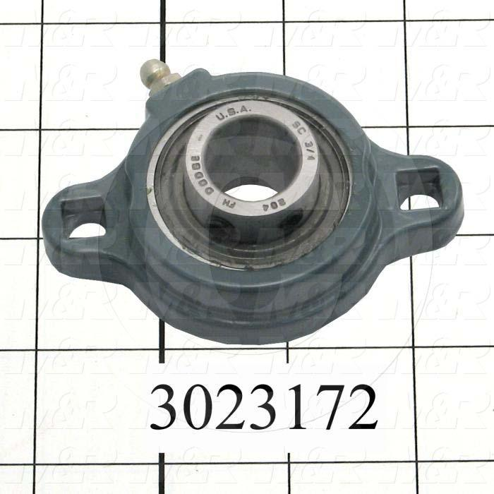 Mounted Bearing Units, Ball, Two-Bolt Flange Housing Type, 0.75 in. Inside Diameter, Square 11/32 Mounting Holes, 3.44 Overall Length, 1.00 Height, 2.25 Width - Details