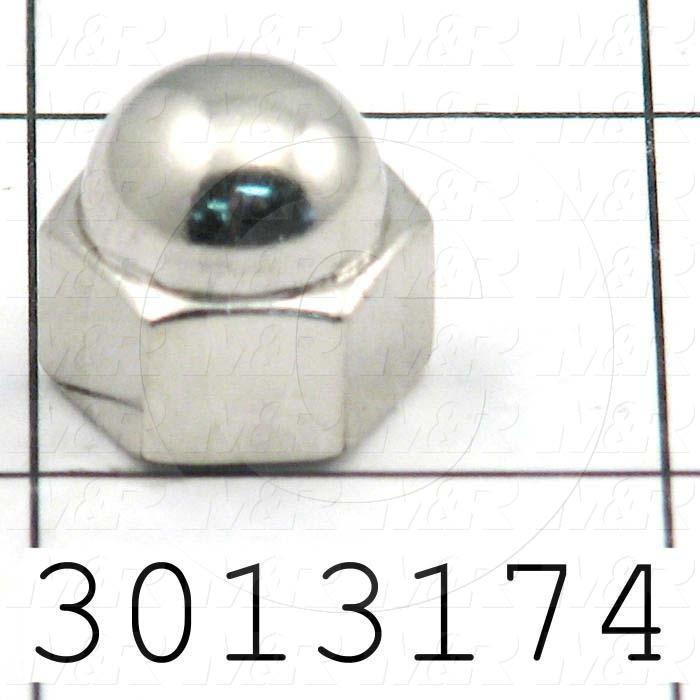 Nuts, Acorn Hex, 3/8-24 Thread Size, Right Hand, Steel, Zinc