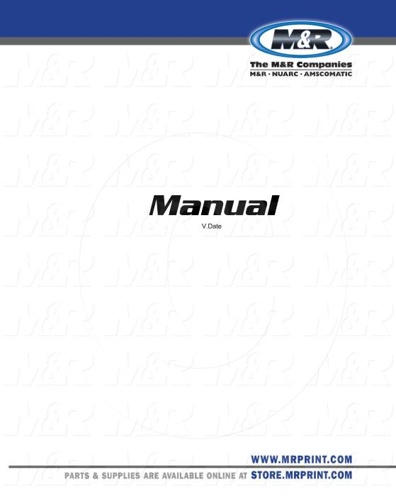 Owners Manual, Equipment Type : MR007