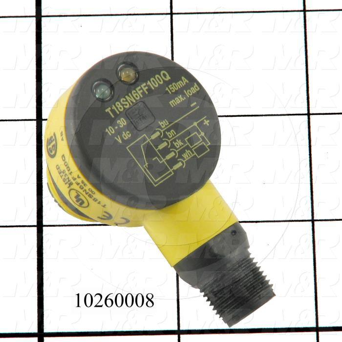 "Photoeletric Sensor, 4mm threaded, Fixed Field, 4"" Sensing Range, NPN, 10-30VDC"