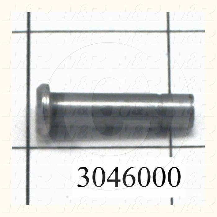 """Pin, Clevis Pin, ANSI, 0.25 in. Diameter, 1.118"""" Overall Length, Steel Material, Note : Effective Length Under the Head : 0.75"""", Retaining Ring Part No. 3046000A"""